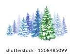 watercolor winter forest... | Shutterstock . vector #1208485099