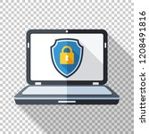 laptop icon in flat style with... | Shutterstock .eps vector #1208491816