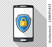 smartphone icon in flat style... | Shutterstock .eps vector #1208491819