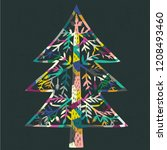 colorful christmas tree. print... | Shutterstock .eps vector #1208493460