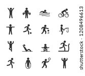 vector image set exercise icons. | Shutterstock .eps vector #1208496613