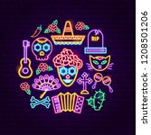 day of the dead neon concept.... | Shutterstock .eps vector #1208501206