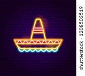 mexican sombrero neon sign.... | Shutterstock .eps vector #1208503519
