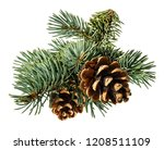 brown pine cone on white... | Shutterstock . vector #1208511109