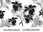 black kentia leaves and... | Shutterstock .eps vector #1208520640
