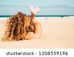 beautiful tanned lady middle... | Shutterstock . vector #1208559196