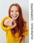 laughing young redhead woman... | Shutterstock . vector #1208564950