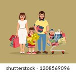 young and excited family... | Shutterstock .eps vector #1208569096