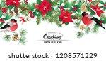 christmas wreath of spruce ... | Shutterstock .eps vector #1208571229