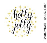 holly jolly lettering text on... | Shutterstock .eps vector #1208571580