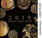 2019 happy new year  golden ...   Shutterstock .eps vector #1208579239