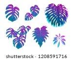 tropical leaves set in neon ... | Shutterstock .eps vector #1208591716