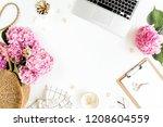 workspace with clipboard ... | Shutterstock . vector #1208604559