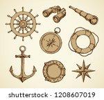 old navy schooner ocular ... | Shutterstock .eps vector #1208607019