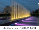 fountains at night in zagreb in ... | Shutterstock . vector #1208611453