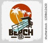 beach life  lifeguard tower... | Shutterstock .eps vector #1208612620