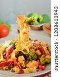 chicken fettuccine with... | Shutterstock . vector #1208613943