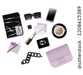 vector fashion set in vogue... | Shutterstock .eps vector #1208615389