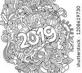 2019 hand drawn doodles contour ... | Shutterstock .eps vector #1208619730