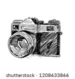modern camera in doodle style....   Shutterstock .eps vector #1208633866