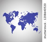 world map vector. flat earth ... | Shutterstock .eps vector #1208640520