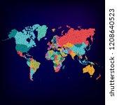 world map vector. flat earth ... | Shutterstock .eps vector #1208640523