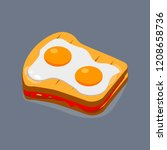 fried egg with bread for... | Shutterstock .eps vector #1208658736