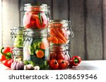 jars with marinated food and...   Shutterstock . vector #1208659546