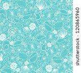 Vector Blue Seashells Line Art...