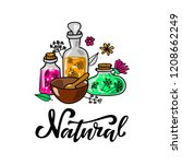 set of organic cosmetics glass...   Shutterstock .eps vector #1208662249