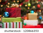 stacks of christmas presents... | Shutterstock . vector #120866353