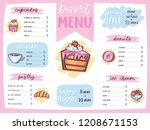 menu dessert vector cafe design ... | Shutterstock .eps vector #1208671153