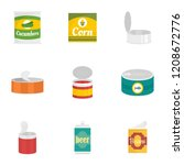 conserve food icon set. flat... | Shutterstock .eps vector #1208672776