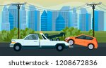 tow truck when a car breaks... | Shutterstock .eps vector #1208672836