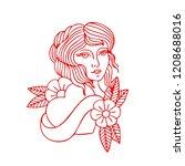 girl illustration traditional... | Shutterstock .eps vector #1208688016