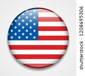 flag of the usa. round glossy... | Shutterstock .eps vector #1208695306