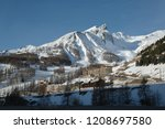 mountains and ski resort in val ... | Shutterstock . vector #1208697580