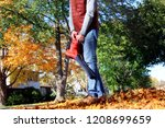 man working with  leaf blower ... | Shutterstock . vector #1208699659