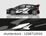 racing hatchback car wrap decal ...   Shutterstock .eps vector #1208712010