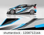 racing hatchback car wrap decal ... | Shutterstock .eps vector #1208712166