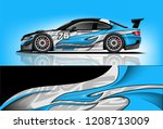 sport racing car wrap decal and ... | Shutterstock .eps vector #1208713009