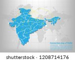 modern of india map connections ... | Shutterstock .eps vector #1208714176