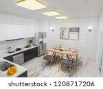 3d rendering  home kitchen and...   Shutterstock . vector #1208717206