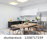 3d rendering  home kitchen and... | Shutterstock . vector #1208717239