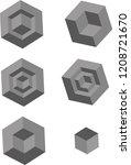 gray geometrical 3d objects | Shutterstock .eps vector #1208721670