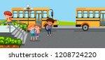 student at school yard... | Shutterstock .eps vector #1208724220