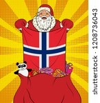santa claus gets national flag... | Shutterstock . vector #1208736043