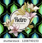 flower framing. lilies and text ... | Shutterstock .eps vector #1208740153