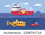 water transport for carriage of ... | Shutterstock .eps vector #1208741716