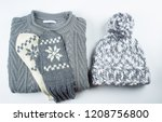 collection of woolen winter... | Shutterstock . vector #1208756800